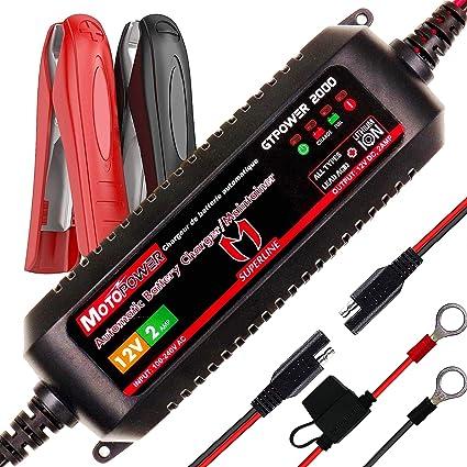 MOTOPOWER MP00207A 12V 2Amp Cargador/Mantenimiento automático de batería automático para baterías de Plomo y baterías de Iones de Litio