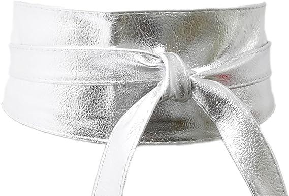 Cinturón Ancho Plateado Fiesta de Mujer para Combinarlo Con Vestidos o Faldas, Accesorio Imitación Piel: Amazon.es: Ropa y accesorios