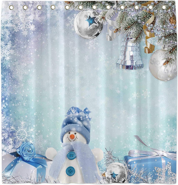 "Allenjoy 72x72""Winter Snowman Shower Curtain for Bathroom Sets Merry Xmas Let it Snow Home Bath Bathtub Decors Decoration Customizable Durable Waterproof Fabric Machine Washable Curtains with 12 Hooks"