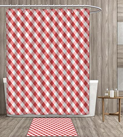 Familytaste Checkered Shower Curtain Customize Crosswise Stripes With Little Red Squares Retro Abstract Pattern Fabric Bathroom