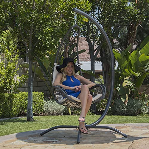 BELLEZE All-Weather Wicker Hanging Swing Chair with Cushion and Build-in Cup Holder