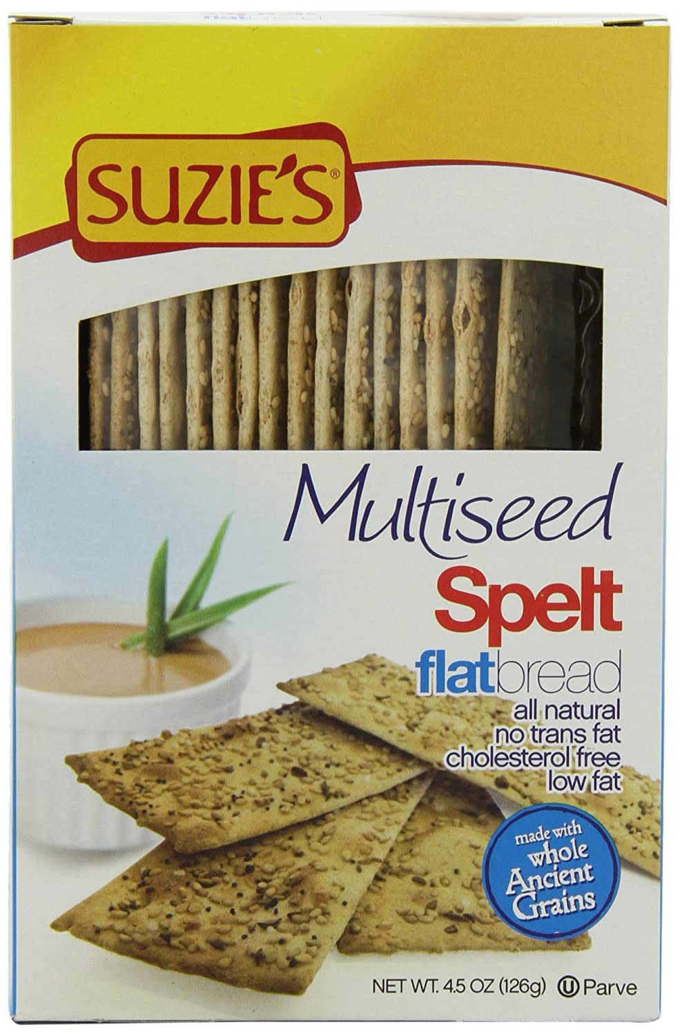 Amazon.com : Suzies Spelt Flatbread, Multiseed, 4.5-Ounce Box (Pack of 12) : Flatbread Crackers : Grocery & Gourmet Food