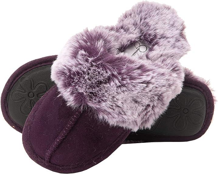 Jessica Simpson Girls Comfy Slippers - Cute Faux Fur Slip-On Shoes Memory Foam House Slipper (Purple, Size Medium) best kids' slippers