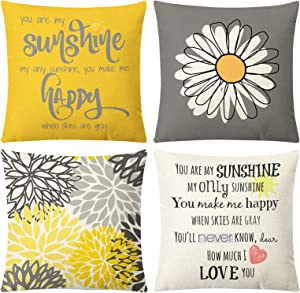 """Aoomzoon Summer Pillow Covers 18x18 Set of 4, Yellow and Grey Sunshine Flower Decorative Daisy Cushion Case for Living Room Couch Bed Indoor Outdoor Farmhouse Home Decor(18""""x18"""", Yellow Grey)"""