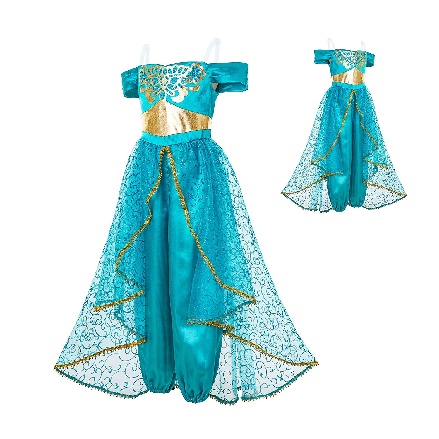 Mooler Princesa Jasmine Girls Dress Up Disfraces Halloween Fiesta ...