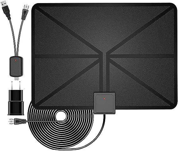 Antena de TV, Antena HDTV amplificada para Interiores, Alcance de 50 Millas con Amplificador Desmontable y Cable coaxial de Alto Rendimiento, versión actualizada, Mejor recepción: Amazon.es: Electrónica