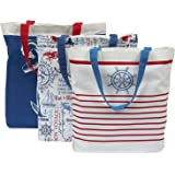 "DII 100% Cotton Machine Washable 15x15.5x4.25"" Heavy Duty Canvas Reusable Tote Bag for Grocery Shopping, Book and Stationary Set of 3-Maritime"