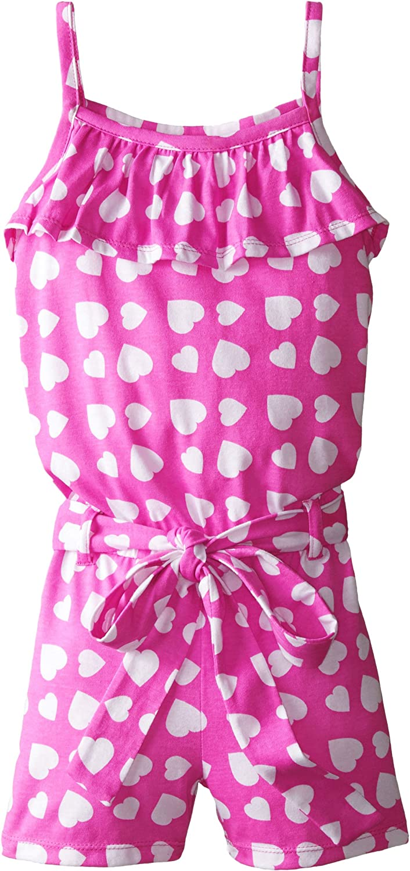 Dream Star Big Girls Heart Print Ruffle and Belted Romper