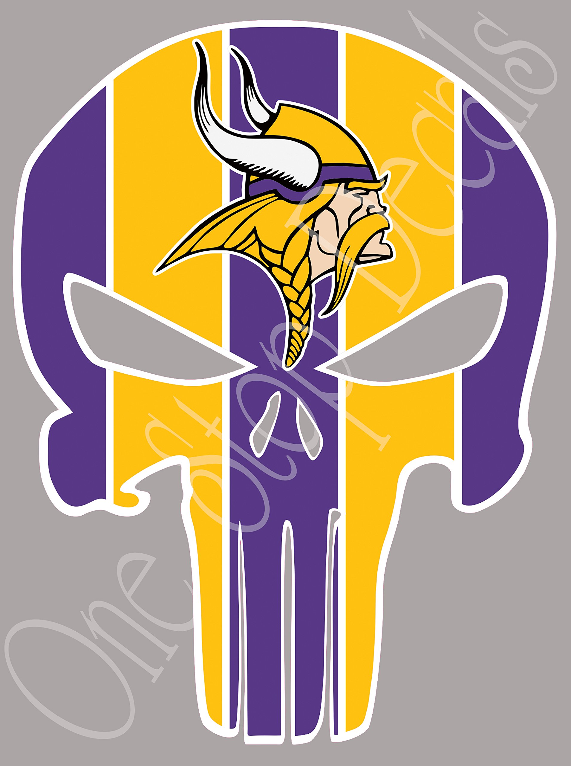 Vikings Punisher (Skull) Full Color Sport Fan Vinyl Decal/Sticker. Outdoor Rated for up to 7 Years, Scratch Resistant, UV Resistant! (SB1) Size: 5'' Tall. by One Stop Nails