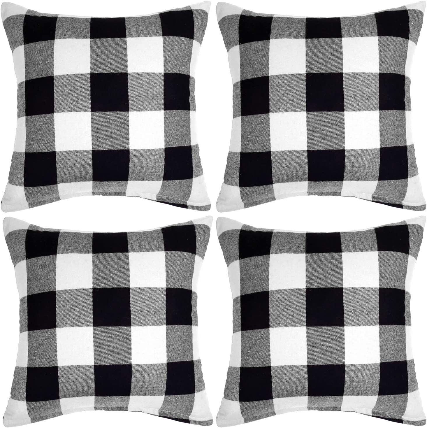 Aneco 4 Pack Buffalo Plaid Pillow Covers White and Black Plaid Cushion Case Pillow Cases for Home Decor, 18 x 18 Inches