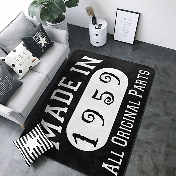 Wolfdinner 60th Birthday Gifts Made in 1959 Super Soft Personalized Carpet Decorator Floor Non-Slip Rug and Carpet 80 X 58inch Game Room Floor Carpet