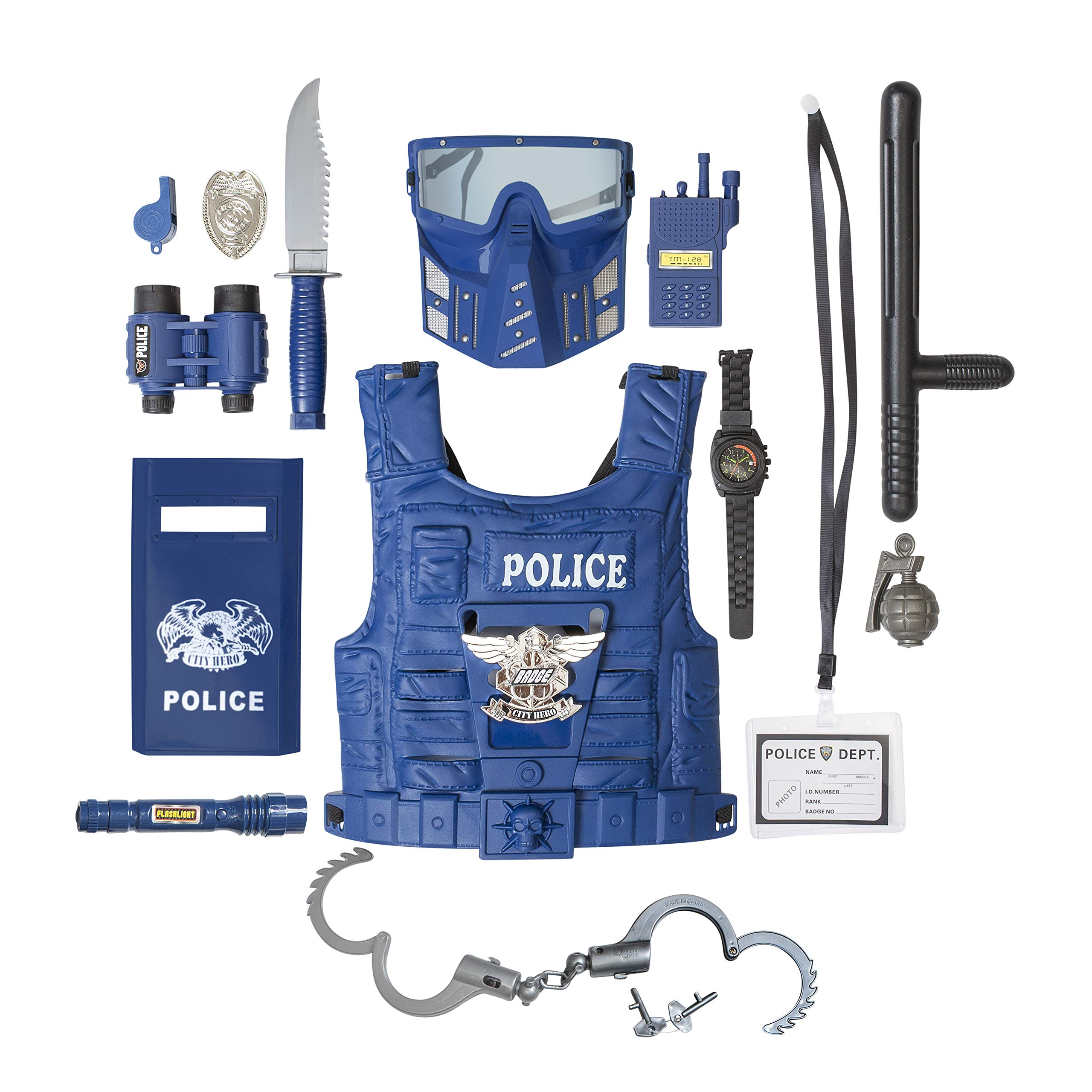 Kids Police Costume for Role Play 14 Pcs Police Toys with Police Badge, Kids Handcuffs, Shield, Vest, Flashing Light, Whistle, Police Baton - Police Officer Halloween Costume for Boys and Girls by The M World