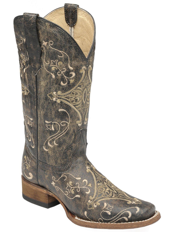 Corral Women's Circle G Crackle Scroll Bone Embroidered Square Toe B(M) Western Boot B00NWQP7UC 6 B(M) Toe US|Bone 31f0ed