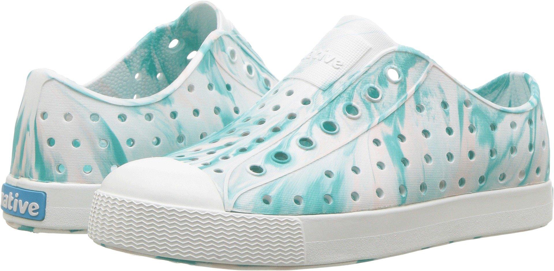 native Kids Unisex Jefferson Junior Sneaker, Glass Green/Shell White Marbled, 6 Medium US Big