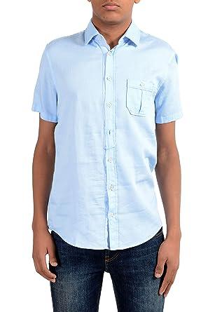 49525bca Image Unavailable. Image not available for. Color: Hugo Boss Orange EslimyE  Men's Blue Slim Short Sleeve Casual Shirt ...
