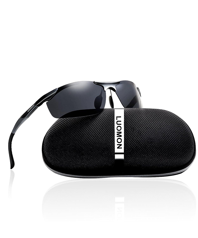 db6b7cc1d3 LUOMON Men Polarized Wrap-Around Sport Sunglasses Al-Mg Aloy Grey Frame Grey  Lens Unbreakable Frame LM8179  Amazon.in  Clothing   Accessories