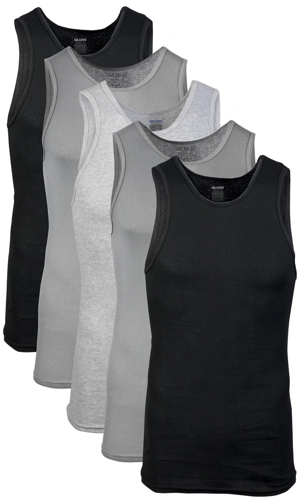 Gildan Men's A-Shirts 5 Pack, Grey/Black, Large