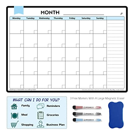 Amazon Com Magnetic Dry Erase Calendar Monthly Planner Magnetic