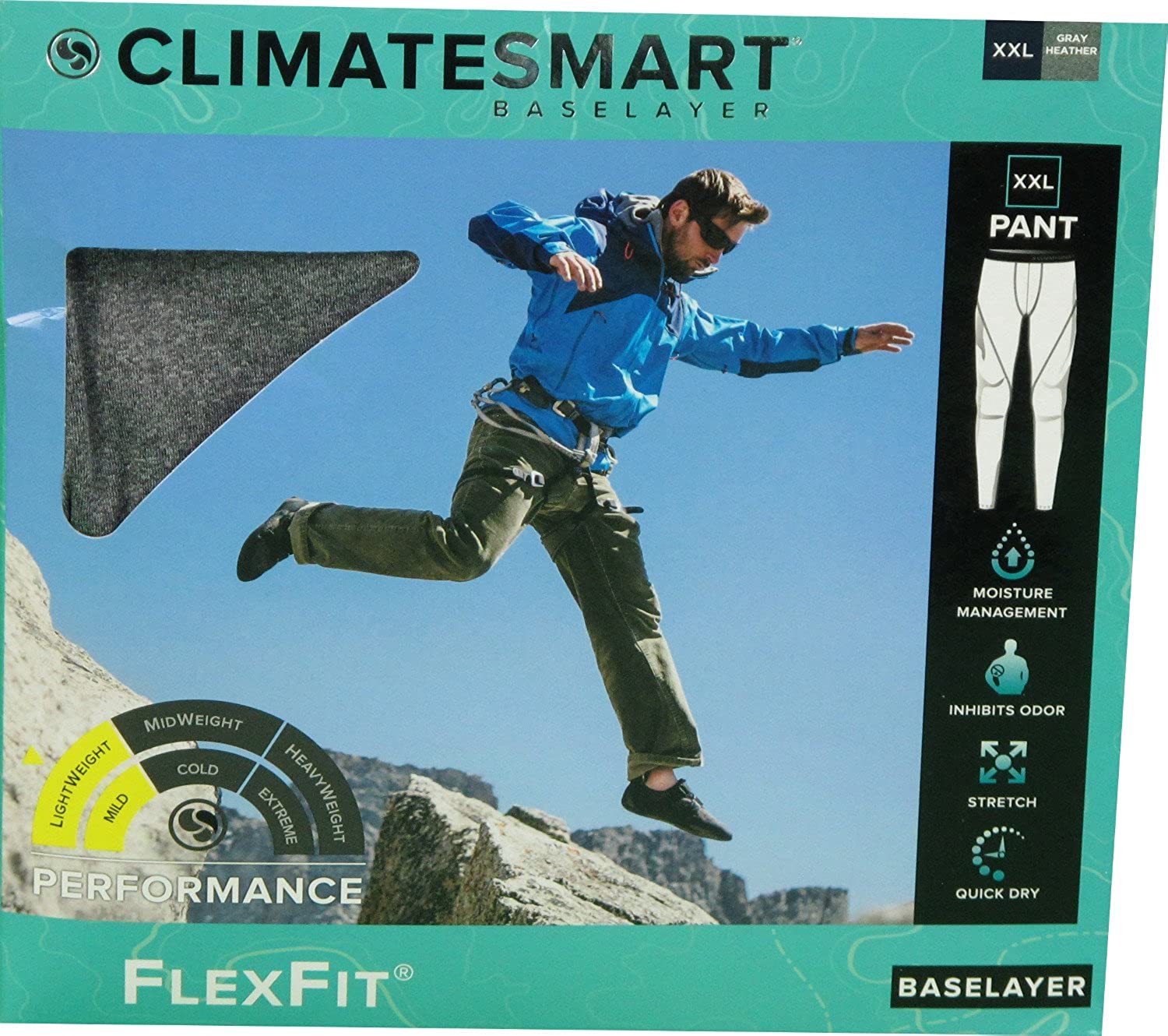 FlexFit Climate Smart Mens XXL 44-46 Lightweight Baselayer Pants Gray Heather