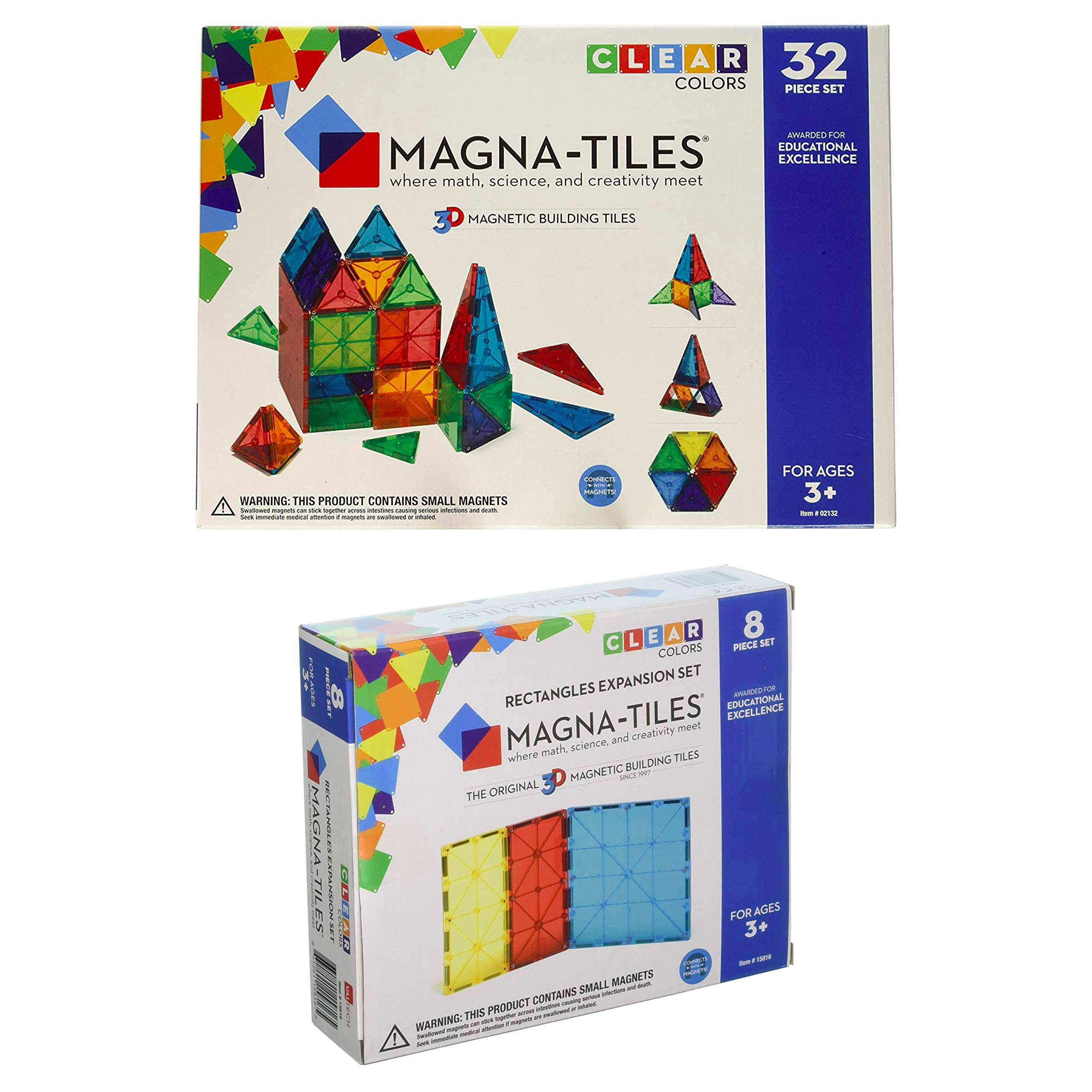 Magna-Tiles 32-Piece Clear Colors Set - The Original, Award-Winning Magnetic Building Tiles - Creativity and Educational - STEM Approved Bundled 8-Piece Rectangles Expansion Set - The by Magna-Tiles (Image #1)