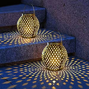 Solar Lanterns Outdoor Hanging Lights, Decorative Metal LED Solar Powered Lanterns for Garden Patio Yard, Walkway and Pathway Decoration 2 Pack (Bottle Gourd)