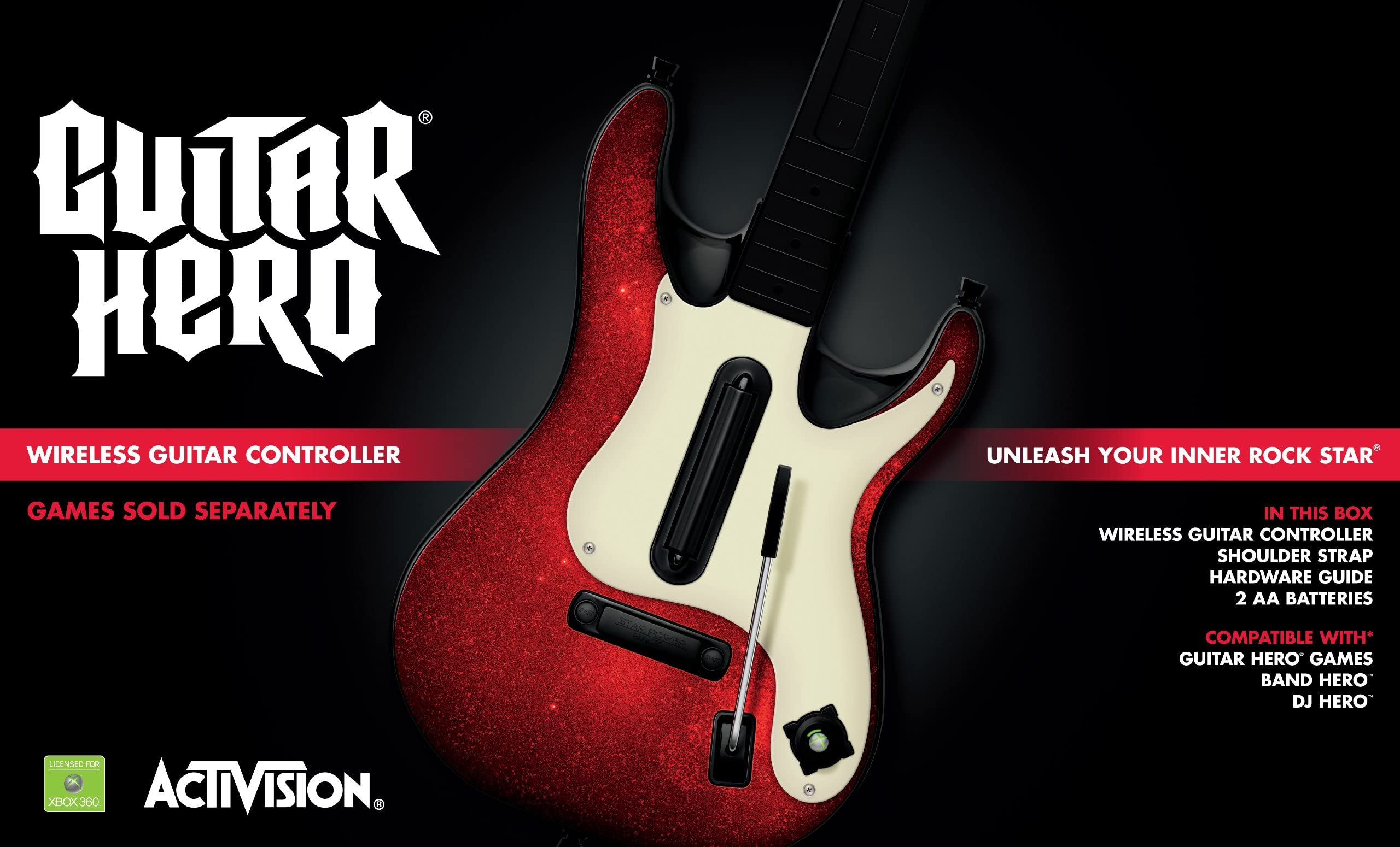 Amazon com: Xbox 360 Guitar Hero 5 Stand-Alone Guitar: Video