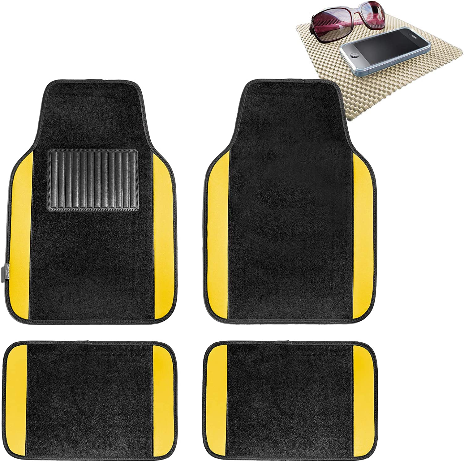 TLH Carpet Floor Mats with Colored Trim, Yellow Color w/Beige Dash Pad
