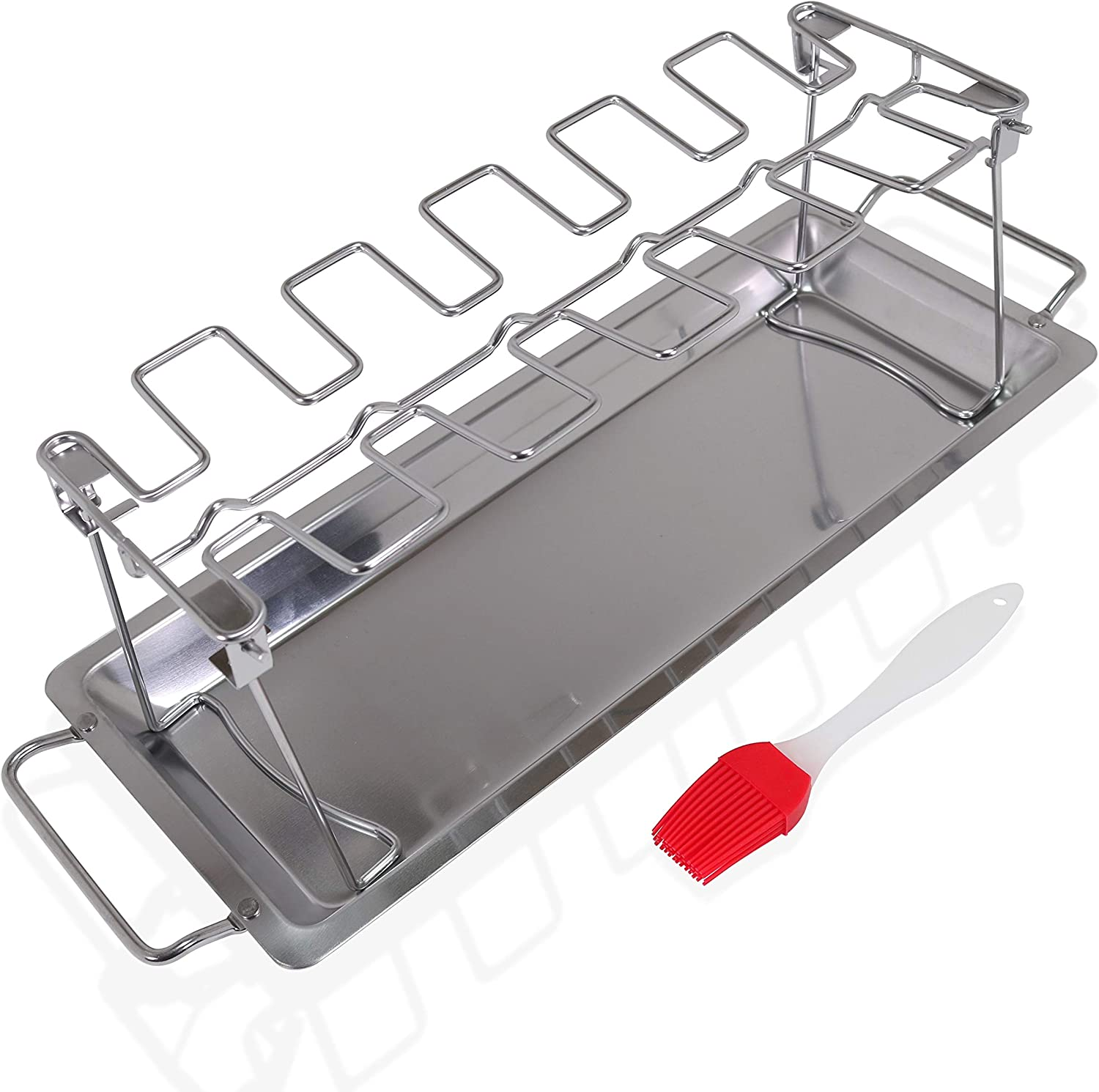 Sandtix Chicken Wing and Leg Rack 12 Slot Stainless Steel Roaster Rack with Drip Tray for Grilling Vegetables on The BBQ, Complete with a Silicone Basting Brush