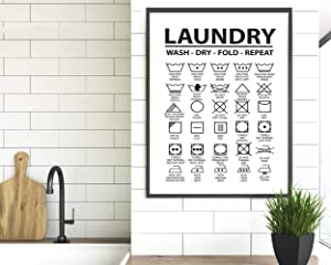 TimPrint Laundry Symbols Wall Art Laundry Symbols Print Laundry Room Laundry Decor Laundry Room Signs Laundry Icons Laundry Guide Print Framed Print Wall Art