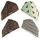 Baby Bandana Drool Bib 4-Pack With Snaps Premium Absorbent Cotton Unique Boy Or Girl Teething Set By Rockstar Rugrats