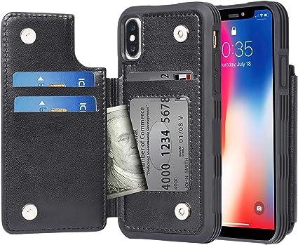 Migeec Cover per iPhone X/XS - Custodia a Portafoglio con Tasche Premium in Ecopelle [Antiurto] Cover Posteriore Flip per iPhone X/XS da 5,8 Pollici, ...