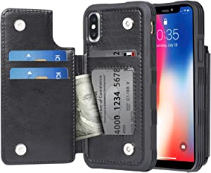 Arae Case for iPhone X and iPhone Xs - Wallet Case with PU Leather Card Pockets [Shockproof] Back Flip Cover for iPhone X/Xs 5.8 inch (Black)