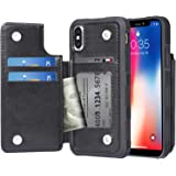 Arae Case for iPhone X/iPhone Xs - Wallet Case with PU Leather Card Pockets [Shockproof] Back Flip Cover for iPhone X/Xs…