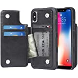 Arae Case for iPhone X and iPhone Xs - Wallet Case with PU Leather Card Pockets [Shockproof] Back Flip Cover for iPhone X/Xs