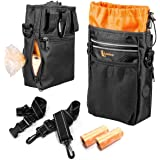 lanktoo Dog Treat Bag with Poop Bag Holder, Waterproof Dog Training Bag Pouch W/Shoulder Strap, Waist Belt, Clip, Easily Carry Dog Toys, Food - Black