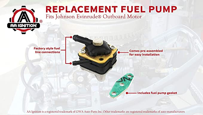 Fuel Pump Fits Johnson Evinrude Outboard Motor Pre 1993 6hp 9 9 Hp 15 Hp Models Replaces Part 395091 397274 391638 397839 18 7350 Evenrude
