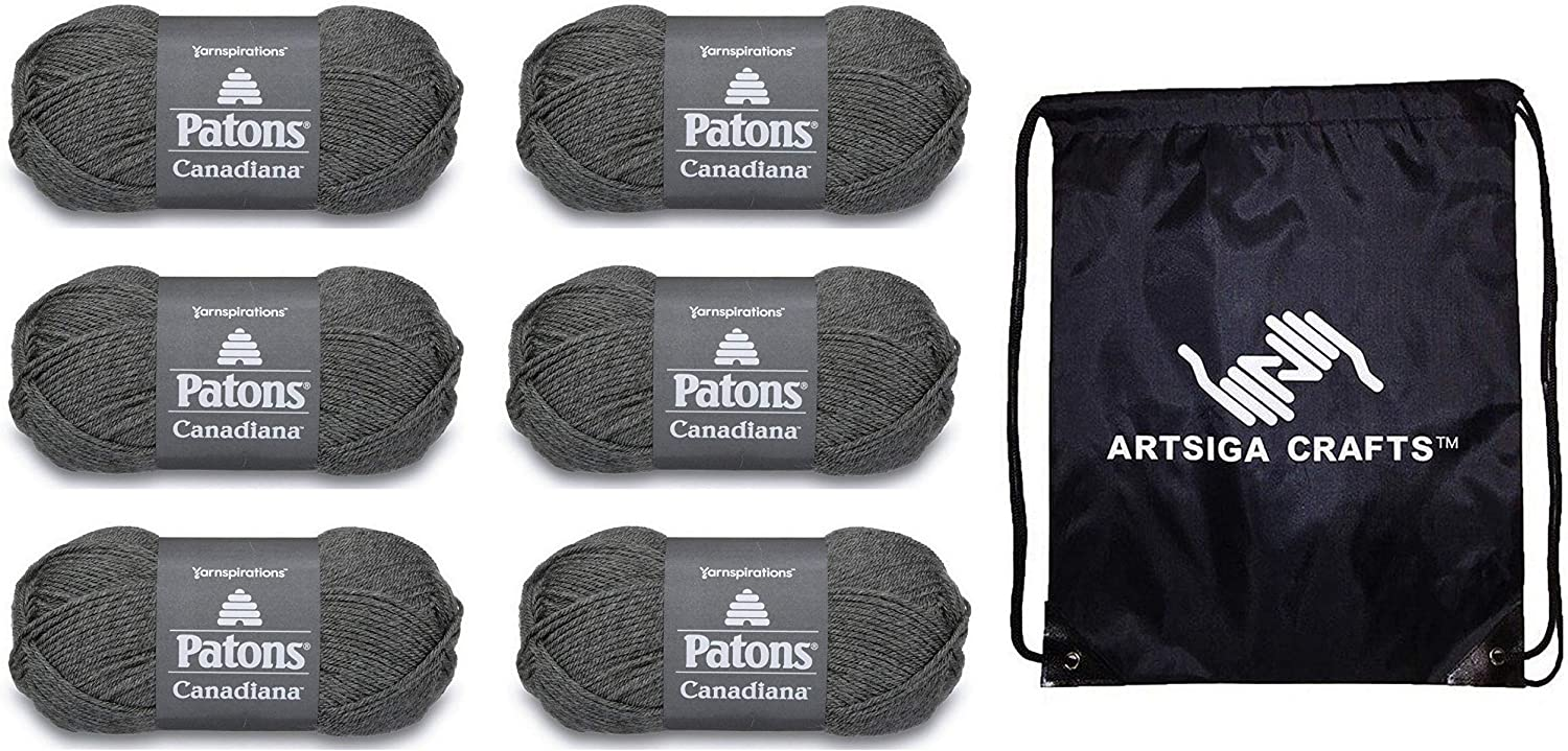 Patons Knitting Yarn Canadiana Solids Medium Grey Mix 6-Skein Factory Pack (Same Dye Lot) 244510-10044 Bundle with 1 Artsiga Crafts Project Bag