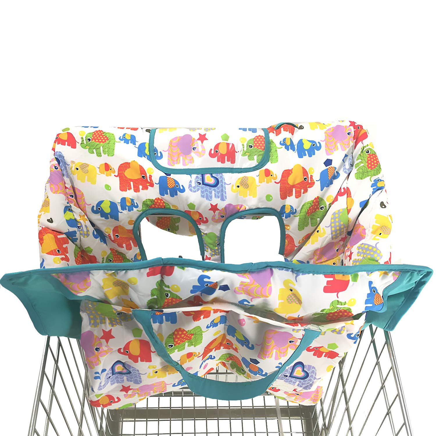 2-in-1 Shopping Cart and High Chair Cover for Baby~Padded~Foldn Roll Style~Portable with Free Carry Bag Black Circle