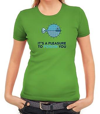 Kugelfisch Damen T-Shirt mit Pleasure To Poison You Motiv von ShirtStreet:  Amazon.de: Bekleidung