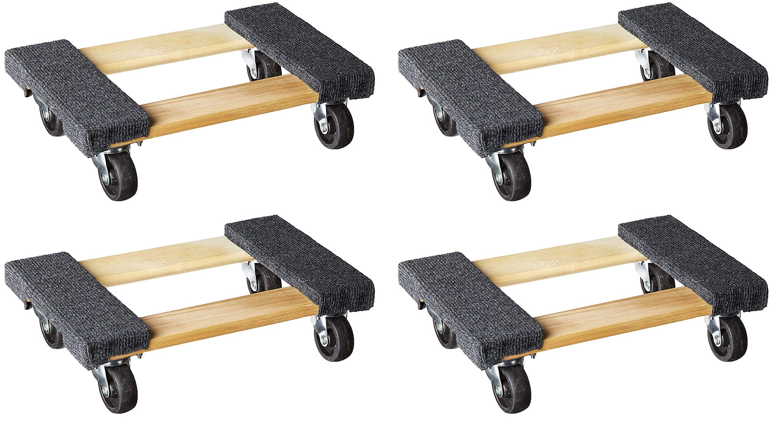 "Haul Master 93888 Mover's Dolly 1000 lbs. Weight Capacity, 18'' L x 12-1/4'' W, 12-14"", Grey/Hardwood (Pack of 4)"