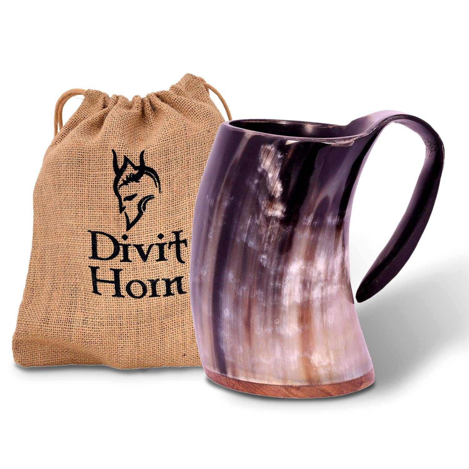 Divit Genuine Viking Drinking Horn Mug | Authentic Medieval Beer Horn Tankard | 24oz capacity | Highest quality horn Cup/Stein. (Original, Polished)