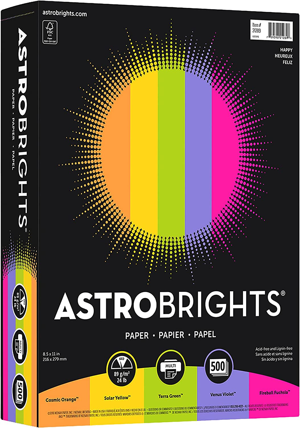 """Neenah Wausau 21289 Astrobrights Color Paper, 8.5"""" x 11"""", 24 lb / 89 gsm, """"Happy"""" 5-Color Assortment, 500 Sheets, Multi Colored : Printer And Copier Paper : Office Products"""