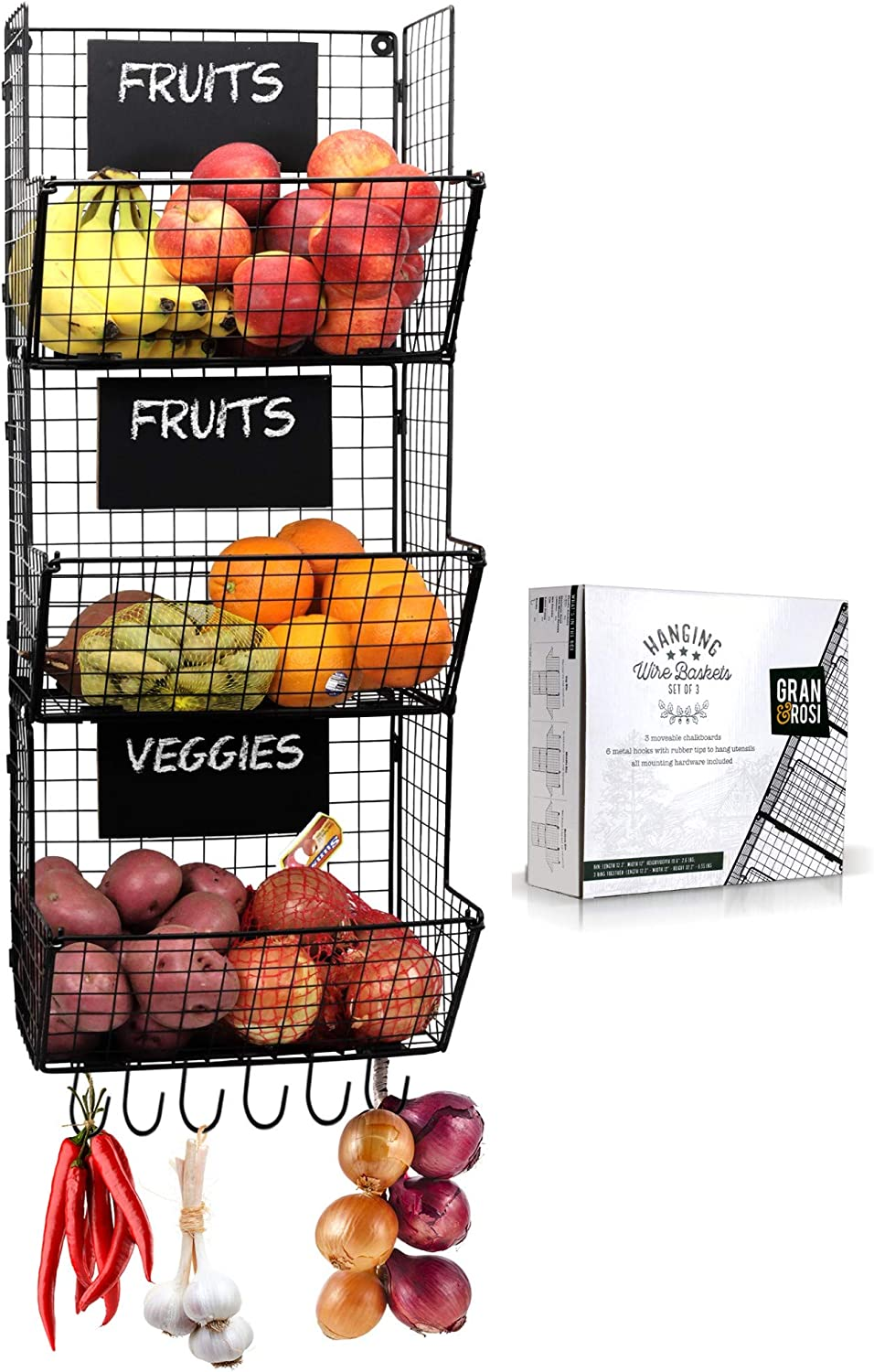 Stylish Kitchen Hanging Fruit And Vegetable Storage Baskets with Chalkboards - Perfect for Your Potatoes and Onions - Amazing Wire Wall Mount System Saves Space while Enhancing your Home