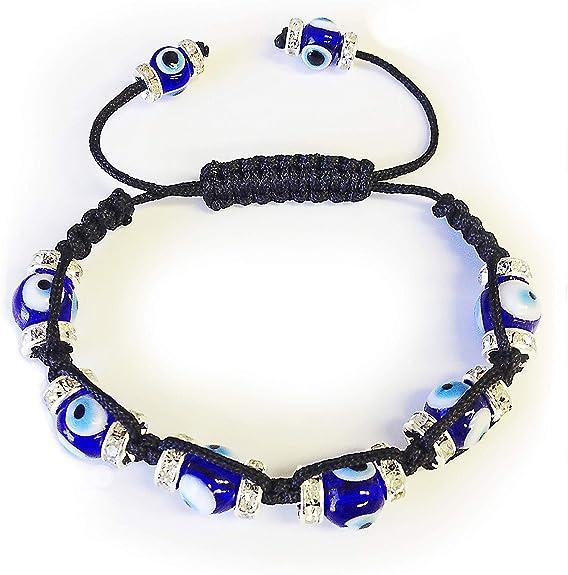 Make a Wish dark blue evil eye bracelet on dark blue cord