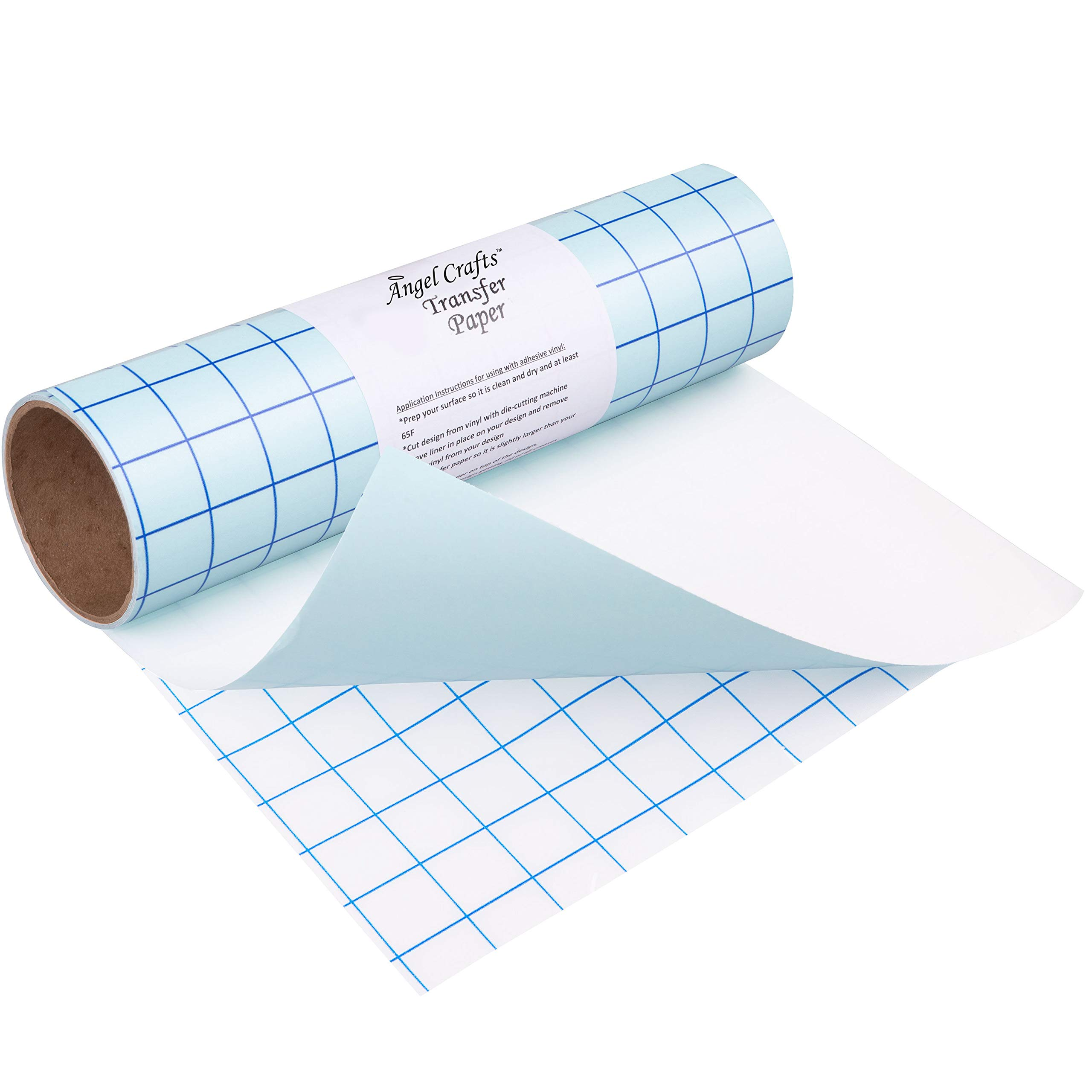 Angel Crafts Transfer Paper Tape: Craft Transfer Tape for Vinyl Application with Blue Grid Lines - Self Adhesive Transfer Paper Roll Compatible with Cricut, Silhouette Cameo - 12 Inch by 8 Feet, Clear by Angel Crafts