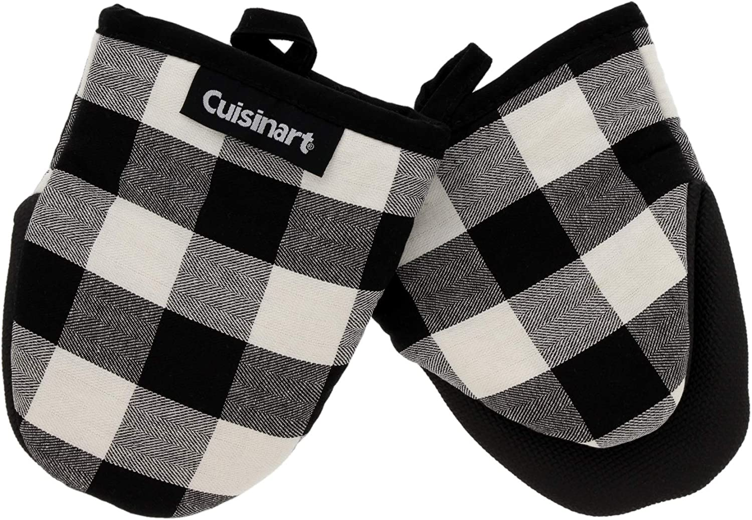 Neoprene Mini Oven Mitts, 2pk - Heat Resistant Oven Gloves Protect Hands and Surfaces with Non-Slip Grip and Hanging Loop-Ideal Set for Handling Hot Cookware - Buffalo Check, Black, Ivory