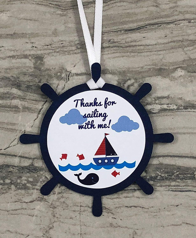 Nautical Theme Ship Wheel Thanks for sailing with me! Favor Tags - Set of 12