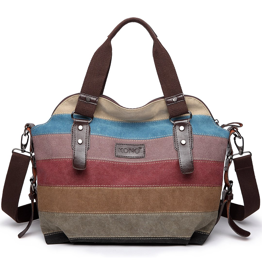 d48744fa48 Kono Women Canvas Rainbow Multi-Color Striped Hobo Handbag Cross Body  Messenger Shoulder Bag Satchel (striped 77)  Amazon.co.uk  Shoes   Bags