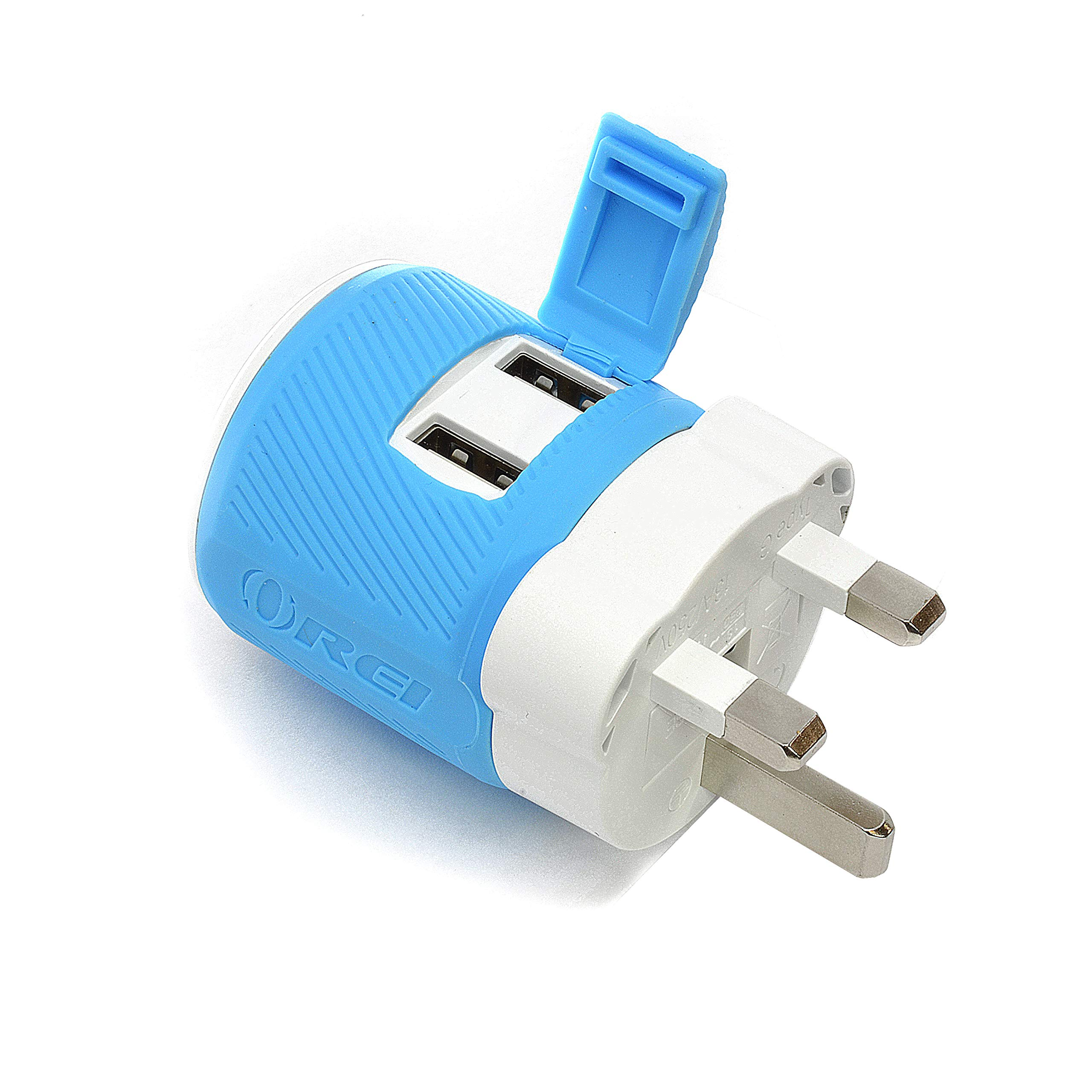 Orei U2U-7 OREI UK, Ireland, Dubai Travel Plug Adapter - Dual USB - Surge Protection - Type G