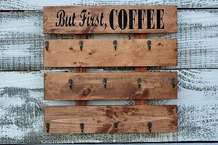 Rustic Wood Coffee Cup Rack Your Color Choice 12 Mug Hooks Large Wall  Mounted Mug Storage